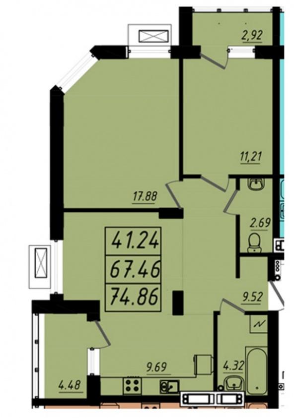 Планировки трехкомнатных квартир 74.86 м^2